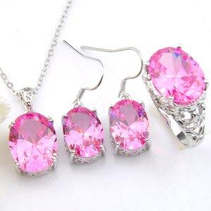 Luckyshine Hochzeit Sets Oval Fashion Pink Kunzite Edelsteine 925 Silve Anhänger Ohrringe Schmuck Weinlese-Ring-Sets