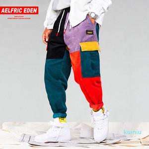 Aelfrico Edén hombres pana remiendo pantalones de los bolsillos de carga Harem Joggers Harajuku pantalón de Hip Hop de Calle Pantalones