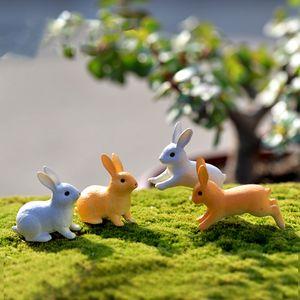 24pcs de Pascua Conejo Figuras Juguetes, 3.7 * 3.0cm resina estatuilla en miniatura de la planta Hada del jardín Decoración Micro Paisaje Cake Toppers arte de los cabritos