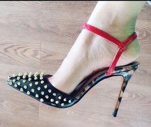Luxus neue sexy Leopardenmuster passend zu Gold Niet versetzt besetzte Sandalen ShoesWomen spitzen Zehen Slingback Ankle Strap High Heels 10cm