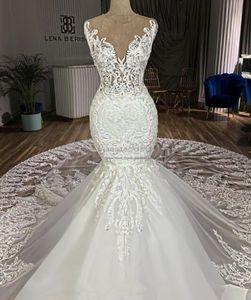 2019 sexy Mermaid Wedding Dresses chapel Train 3D lace Appliques jewel neck gorgeous illusion lace bridal Gowns customized vestidos de novia