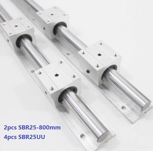 2pcs SBR25-800mm guide linéaire / rail + 4pcs SBR25UU paliers linéaires pour pièces de routeur cnc