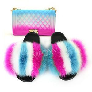 Moda Pelliccia Pantofole Moda Donna Borse Borse Set Prezzo di fabbrica gelatina Borse Outdoor Femminile davvero pelliccia diapositive