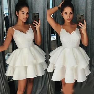 짧은 작은 흰색 동성애 드레스 스파게티 스트랩 공 가운 레이스 레이스 칵테일 드레스 미니 댄스 파티 드레스 졸업 파티 착용