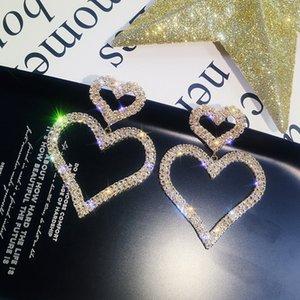 European and American Fashion Diamond S925 Heart shaped earrings with silver needle Drop Earring LOVE Wedding Jewelry
