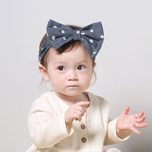 Bandas Polka diadema de pelo para niños de pelo de los bebés de oídos de conejo elástico del Bowknot tocado del partido princesa Accesorios Casual