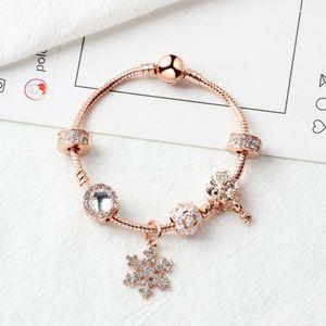 Nuevo hotsale Oro rosa perlas sueltas copo de nieve colgante brazalete del encanto pulsera del grano para la muchacha DIY Joyería como regalo de Navidad