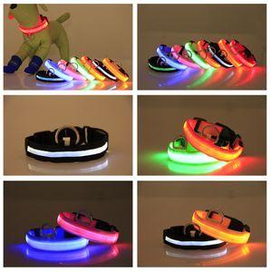 Collar Nylon LED Dog Pet Segurança piscando brilho In The Dog Dark Night Leash, Dogs luminosa fluorescente Coleiras Pet Shop USB recarregável