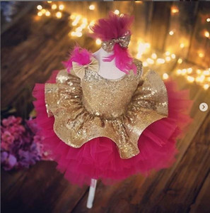 Fashion Girl Pageant Dresses Sequined Bow Feather Flower Girl Dresses knee Length Ball Gown Little Girl Wedding Party Dresses Vintage