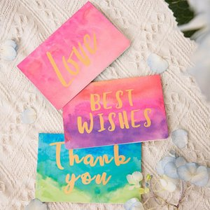 1 Pcs Hot Gold Birthday Greeting Card Watercolor Folding Gift Card Message with Envelope Christmas New Year Blessing
