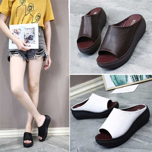 Summer Women Slipper Wedges Leather Slip on Casual Beach Slides Platform Ladies Shoes Height Increasing Chunky Zapatos De Mujer