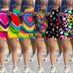 Sommer Frauen Shorts Outfit Tie-Dye Big Heart Print Trainingsanzug Kurzarm T-shirt Tops + Shorts 2 STÜCKE Set Casual T-shirt Anzug Kleidung S-2XL