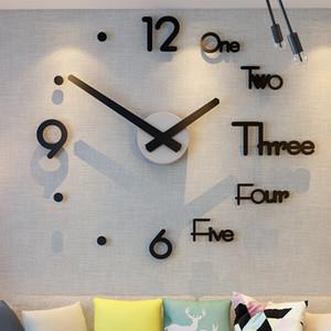 DIY 셀프 접착 벽 시계 대형 디지털 현대 디자인 부엌 키즈 거실 벽 시계 북유럽 홈 아크릴 장식 스티커