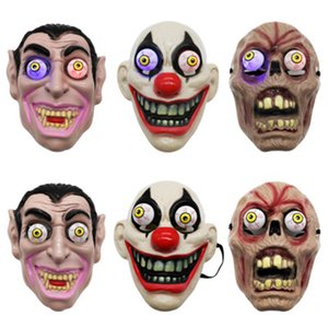 Led Licht Halloween Horror Maske für Clown Vampir-Augen-Schablonen Cosplay Thema Make-up Leistung Masquerade Full Face Mask Partei ZZA1144-