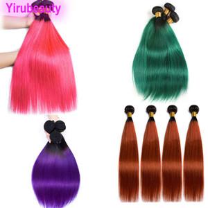 البرازيلي الشعر العذراء بيرو الانسان الشعر الهندي مستقيم 1B / بيربل 1B / 350 أومبير اللون 1B / الأخضر 1B / الوردي الماليزية الشعر حزم 3PCS