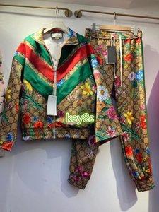 하이 엔드 여성 바지 정장 가디건 상단과 캐주얼 바지 한 벌을 인쇄 코트 긴 소매 스탠드 칼라 꽃 패턴 문자를 꼭대기