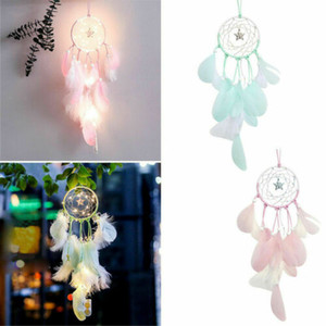 Handmade Dream Catcher LED Light Feathers Room Wall Hanging Decoration Ornament Gift Craft Feathers Car Home Decor 5 Colors