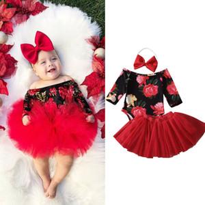 3PCS Newborn Baby Girl Clothes Sets Floral Print Romper Jumpsuit+Tutu Skirt+Headband Outfit Set