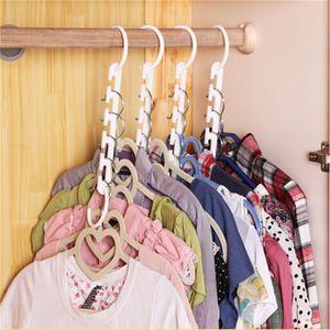 ganchos de roupa 3D espaço de armazenamento de roupas mágicas racks organizador do armário com ganchos de roupas de cor branca de gancho