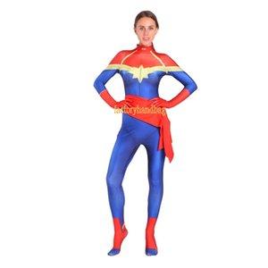 Cosplay Costume lycra Spandex Zentai Tight kids adult 3D printed Surprise Captain Cos Costume Captain Marvel