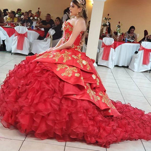 2020 Red New Designer Embroidery Ball Gown Prom Quinceanera Dresses Sweetheart Lace-up Party Pageant Dress For Sweet 16 Girls