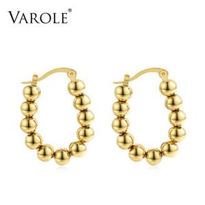 Varole Hoop Pendientes de color dorado Pendientes de bola de metal de acero inoxidable Pendientes de círculo para mujer Joyería al por mayor