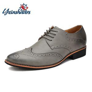 YEINSHAARS Punta estrecha zapatos de cuero genuino Hombres Oxfords Zapatos para hombres Estilo británico Casual Marrón Negro Gris Blanco