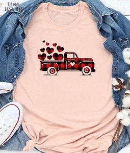 Valentines Day T Shirt Plaid Printed Splicing Car Heart Shirts Valentines Shirt Women Letter Fashion Grunge Aesthetic 100%Cotton Tees