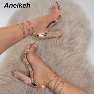 Aneikeh Femmes Haute Sandales D'été Talons Carrés En Cristal Plateforme À Talons Dames Sexy Parti De Mariage À Lacets Chaussures Y190704