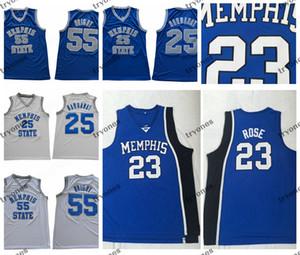 Mens MemphisTigers Tigers Derrick Rose 23 Camisetas de baloncesto universitarias 25 Penny Hardaway 55 Lorenzen Wright Camiseta de baloncesto S-XXL