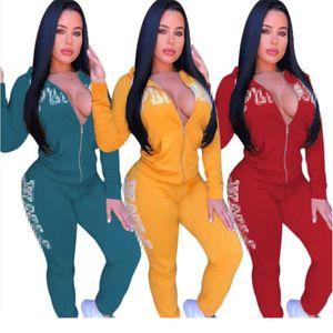 Diseñador de marca Trajes de invierno para mujer medias de chaqueta Conjunto de 2 piezas Conjunto de sudadera Leggings Chándal Sudadera con capucha Pantalones Ropa deportiva Ropa de otoño