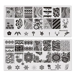 9 Pçs / lote Retângulo Selo Template Floral Crânio Engrenagem Padrão Placa Manicure Nail Art Stamping Placas De Imagem Stencils Ferramentas