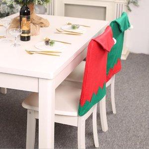 Natal Cadeira Decoração não-tecido Tecido Cadeira Coberta verde e vermelho Cor Big Hat Chair Caso a decoração Home 63 * 47 centímetros LXL489-1