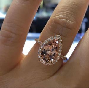 2020 Anneaux de mariage pour femmes de luxe Bagues de fiançailles de pierres précieuses pour femmes Bijoux diamant simulé pour mariage