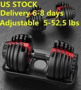 US STOCK, Fast Shipping, Peso Dumbbell ajustável 5-52.5lbs fitness Workouts Dumbbells tom de sua força e construir seus músculos