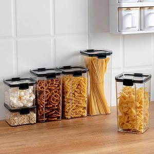 700/1300 / 1800ML الغذاء تخزين الحاويات البلاستيكية مطبخ ثلاجة المعكرونة صندوق مولتيجرين خزان شفاف علب مختومة