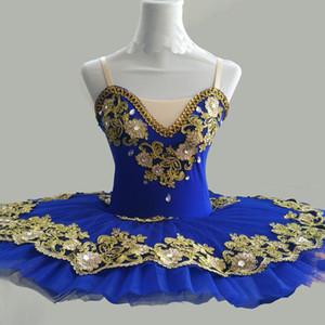 Ballettberuf Tutus Blue Pancake Platter Swan See-Ballett-Kostüm-Ballerina-Tutu Tanz Kleidung für Mädchen Fee