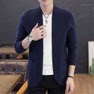 Knitted Cardigan Spring Fashion Solid Color Two Buckle V Neck Cardigan Male Designer Clothing Mens Long Sleeve