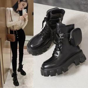 2020 stivali di marca caviglia calza la decorazione tasca Botas delle donne di cuoio stile britannico moto stivali dell'unità di elaborazione delle donne