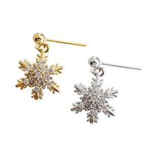 S925 pure silver micro-drill zircon gold plating heavy snow ear drop ear nail Earrings female silver jewelry