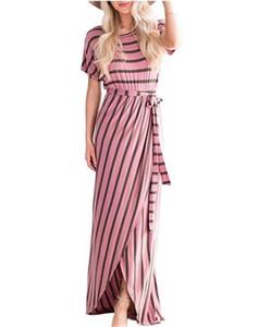 Caixilhos Moda Ladies Club Vestido Sexy listrado Imprimir Tripulação Womens Maxi Vestidos Verão Neck lápis Vestidos Com