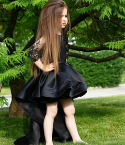 Black Girls Pageant Dresses O Neck 3 4 Long Sleeve High Low Appliques Child Birthday Party Gowns Flower Girl Dress
