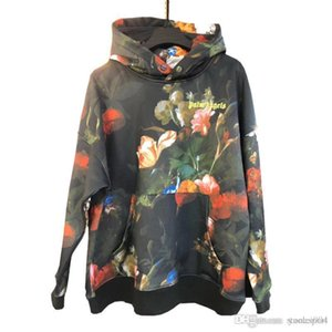 2020 New PALMM ANGELS Floral Full Print Hoodie Loose Men and Women Hooded Pullover Cotton Sweatshirt S-XL