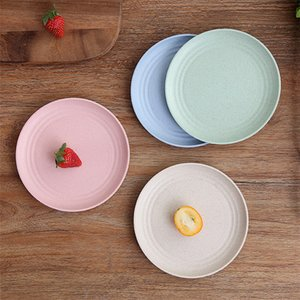 Yemek Çanak Toptan Plastik Yuvarlak Çanak Set Buğday Samanı Plastik Çanak Plaka Seçtiğiniz için 4 Renkler