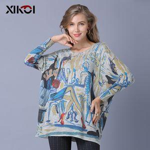 XIKOI Oversize Fashion Women Sweaters Casual Print Jerséis cálidos regulares Manga larga O-cuello Elegante Lady Sweater Jumper