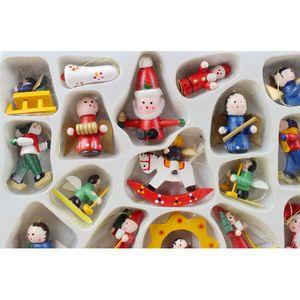 Alta Recomendar Ornamento de suspensão cor de madeira pintada de Santa Folk Nutcracker Decor Snowman cores sortidas 24Pcs / Set
