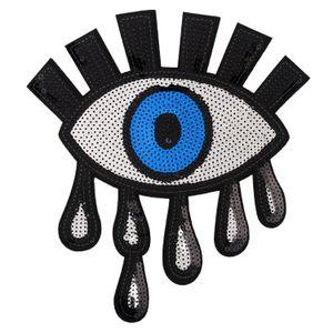 ojos grandes ojos de plata lentejuelas escudo bordado hierro parche en apliques para la decoración bolsa de accesorios de vestir