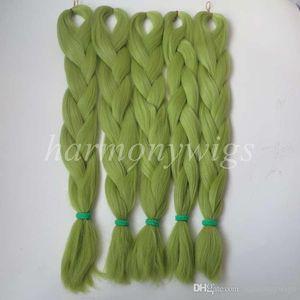 Kanekalon Jumbo braidsing Haar 24inch 80g Fest LIGHT Olivgrünfarbe Xpression Synthetic Zöpfe Hair Extension T0445