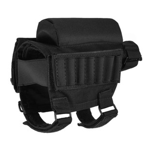 Ajustable Táctico Butt Stock Escopeta Cheek Rest Pouch Bullet Holder Bag Buttstock Bag para la caza al aire libre