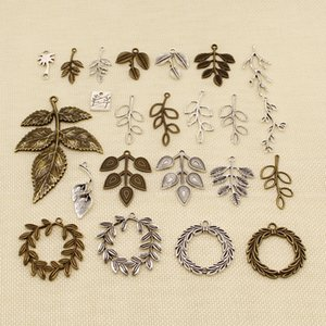 40 Pieces Silver Charm Or Pendants Jewelry Making Plant Leaves Branches HJ197